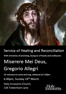 Service of Healing and Reconciliation @ Holy Innocents, Hornsey